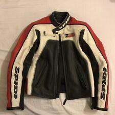 "Spidi Motorbike White/Black/Red Leather Jacket Size Small (40"" Chest)"