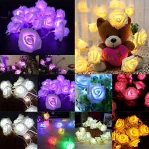 20 LED Rose Flowers Fairy String Lights For Wedding Party Garden Festival Decor