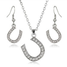 """Horseshoe Necklace & Earrings Set - Sparkling Crystal - Fish Hook - 17"""" Chain"""