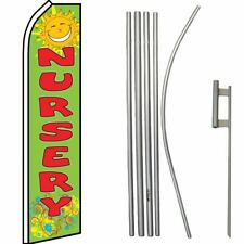 Nursery Green With Red Lettering Swooper Flag & 16ft Flagpole Kit/Ground Spike