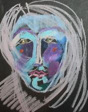 Expressionist portrait pastel painting