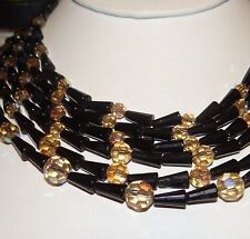 Vintage Cleopatra Style Black Glass Bead Necklace 6 Strand Golden Accent