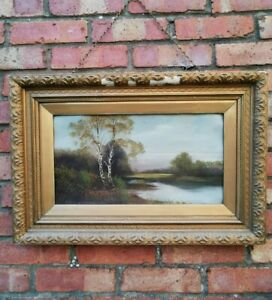 Very Old, Antique Original Oil Painting  - Country  Scene,  Gilt Frame