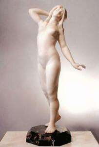 Amazing Antique Carrara Marble Young Woman  Signed Wear Alonzo Large