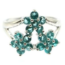 Party Silver Ring 8.0 Charming Rich Blue Aquamarine Woman's