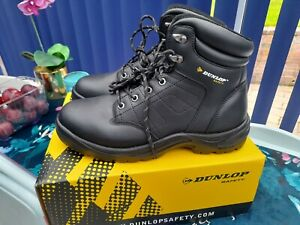 Dunlop Safety Boots Black Leather Dakota Steel Toe Cap UK 10.5 Mint Used 1 hour