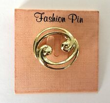 Ladies Gold Plated Pin Brooch Nos Costume Circle Swirl Fashion