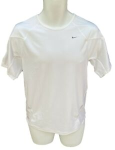 New NIKE+ Mens FitDry Reflective Active Ventilated Tennis Top Shirt White L (B)