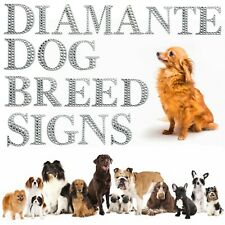 More details for diamante dog breed signs a-z craft gift glitter stick on silver bling letters