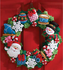 Felt Embroidery Kit ~ Plaid-Bucilla Christmas Toys Holiday Wreath #86363