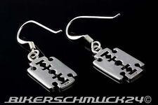 Rocker Schmuck Rasierklinge Razor Blade Ohrringe 925 Silber Ohrhänger Geschenk