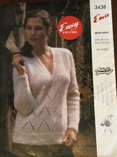 "DK Knitting Pattern Ladies V Neck Sweater Jumper Size 30/40"""