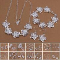 Hot 925 Sterling Silver Plated Chain Bracelet Earring Necklace Jewelry Set YAAU