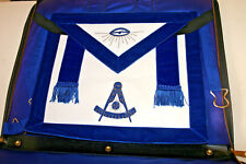 MASONIC REGALIA MASTER MASON HOUSE LODGE BLUE BACKING APRON & CASE