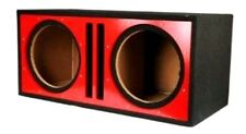 "Absolute Dual 12"" Twin Port Slotted 3/4 MDF Subwoofer Enclosure RED Box"