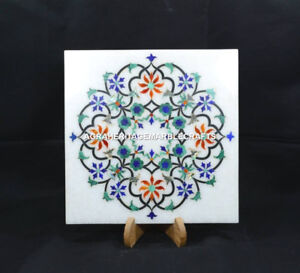 "8"" Marble  Plate/Tiles Collectible Floral Traditional Arts Corridor Decor H5456"