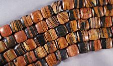 "SUPER BLACK & BROWN WOODGRAIN PETRIFIED WOOD JASPER 14MM SQUARE BEADS 16""  STR"
