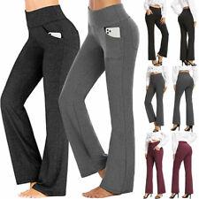 Womens Fold Over Waist Yoga Pants Flare Leg Boot Gym Workout Long Stretch Cotton