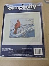 "Simplicity Countless Cross Stitch Cardinal Snow Winter Kit  10"" by 8"""