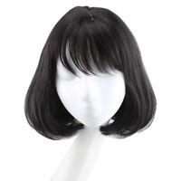 Synthetic Bob Wigs With Flat Bangs Short Wavy False Hair Women's Fashion Cosplay