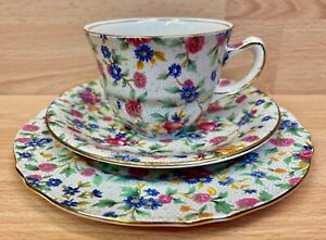"""Royal Winton """"Old Cottage Chintz"""" Pattern Tea Cup Trio."""