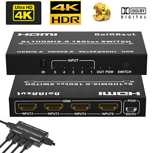 4K 60Hz HDMI 2.0 Switch Switcher HDR with ARC Toslink Audio Extractor HDCP 2.2