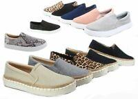 NEW Women's Espadrilles Classic Slip On Flat Round Toe Deck Shoes Size 5.5 - 11