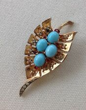 Early Vermeil Over Sterling Trifari Cabochon Leaf Pin