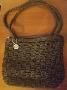 EUC - The Sak Brown Basket Weave Hobo Style Shoulder Bag Rope Strap