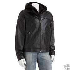 Men's Vintage XXL Leather Hooded Jacket Black NWT! $250 List!