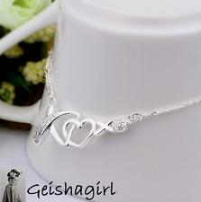 Kiss Heart Elegant 925 Silver Anklet Foot Chain Crystal Bracelet Love UK Seller
