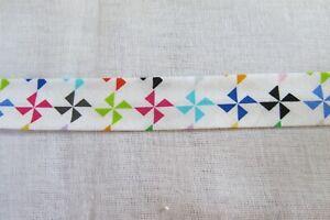 Cotton Bias binding- Colorful windmills, 25mm, price per metre
