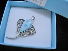 Larimar Stingray Pendant 100% Natural  .925 Sterling Silver