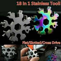 18 In 1 Stainless Tool MultiTool Portable Snowflake Shape Keychain Screwdriver..