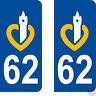 2 stickers style plaque immatriculation auto Département Pas de Calais 62