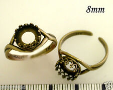 FREE SHIP 6pcs X Quality Cast 8mm bezels cup on Rings Antique Brass -(8680ABR)