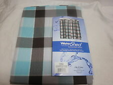 Park Smith WATERSHED Shower Curtain DORSET ` Coffeebean/Light Aegean Blue New