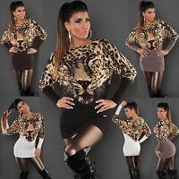 SEXY LADIES TIGER PRINT WOMEN JUMPER SWEATER PARTY MINI DRESS SIZE 8 10 12 Top S