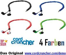 40 Piece InEar Headphones with CordCruncher Cable 3,5mm Jack in 4 Colors NEW