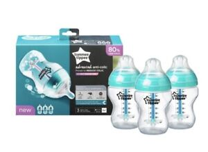 BNIB ~ Tommee Tippee Advanced Anti Colic Bottles ~ x 3 ~ 260ml ~ Turquoise