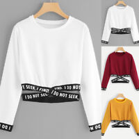 Women Casual Letter Printed Long Sleeve Crop Tops Crew Neck Sweatshirt Pullover