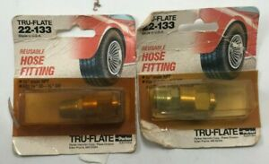 """2 Pack Tru-Flate 22-133 Reusable Hose Fitting 1/4"""" Male NPT 1/4"""" ID 5/8"""" OD USA"""