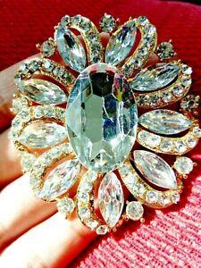 Clear Cystal Large Flower BROOCH Pin Broach Oval Diamante Rhinestone Lady Gift