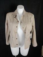 CHICO'S Tan Stretch Womens Khaki  Jacket Size 2 (womens 12) Large NWT $88.00