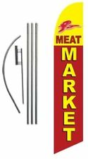 Meat Market Advertising Feather Banner Swooper Flag Sign With Flag Pole Kit