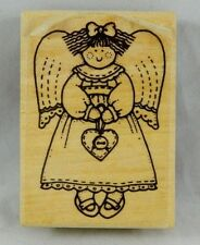 Wood Block Mounted Rubber Stamp Girl Doll Angel Holding Heart Cherub Craft