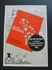 RARE Vtg 1951 DEALER Ad - ALICE IN WONDERLAND character merchandising WDP