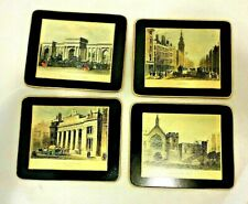 New listing Set of 4 Vintage Coasters Plastic Or Lightweight Wood Antique Pictures of London