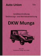 DKW Munga manual de instrucciones manual descripción TDV manual 1961 Auto Unión