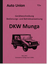 DKW Munga Bedienungsanleitung Manual Beschreibung TDv Handbuch Auto Union LKW